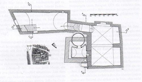 Grundriss des Kellers (Platzhalter) Datum der Aufnahme: 1970er Jahre Bearb.: R. Thelen Bestand: Archiv der städtischen Denkmalpflege/Stadtarchiv Trier
